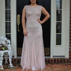 Cute Light Pink Nude Sequin Long Prom Dress